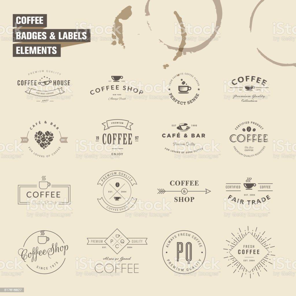 Juego de tarjetas y etiquetas de elementos para café illustracion libre de derechos libre de derechos