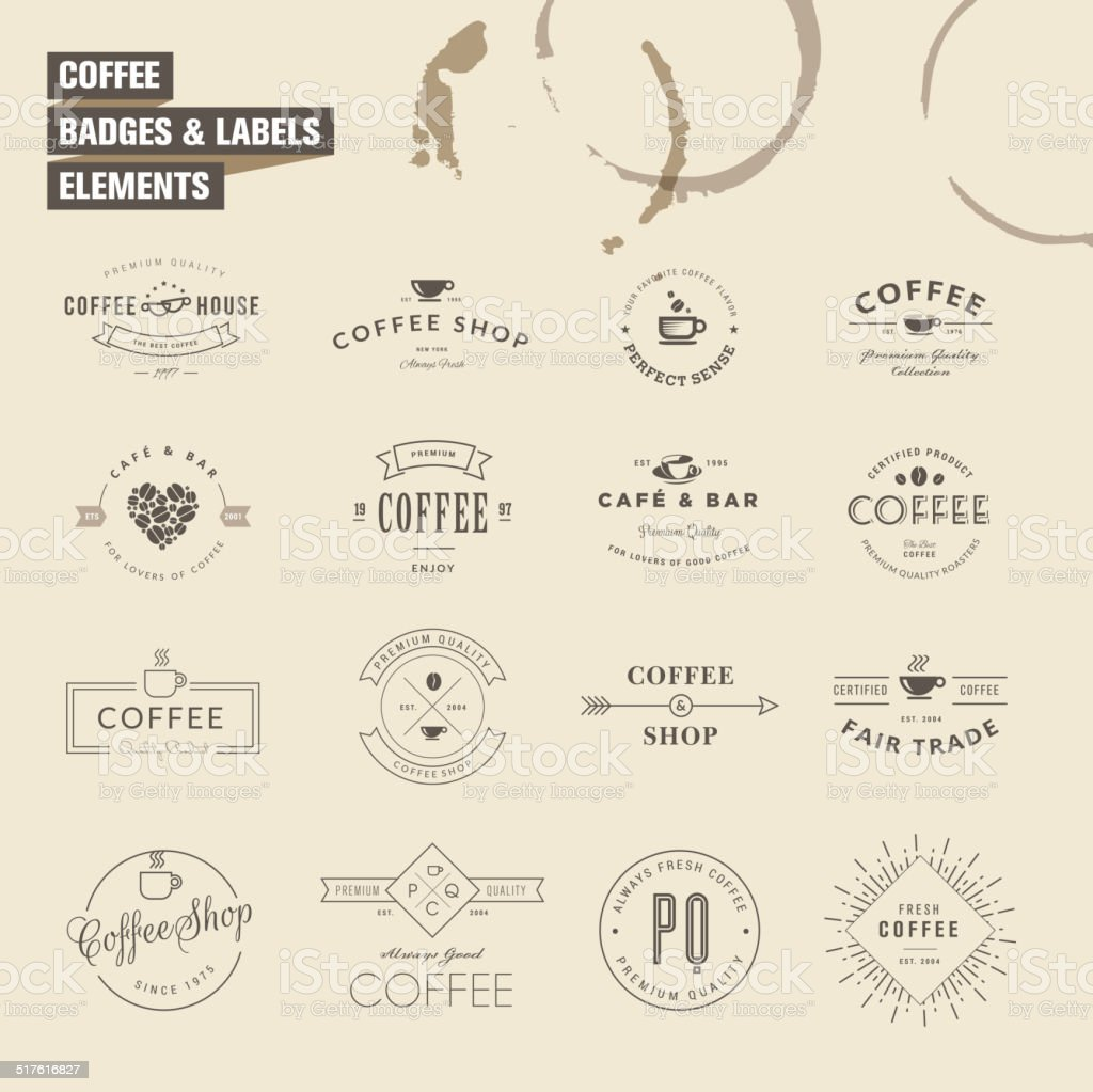 Set of badges and labels elements for coffee vector art illustration