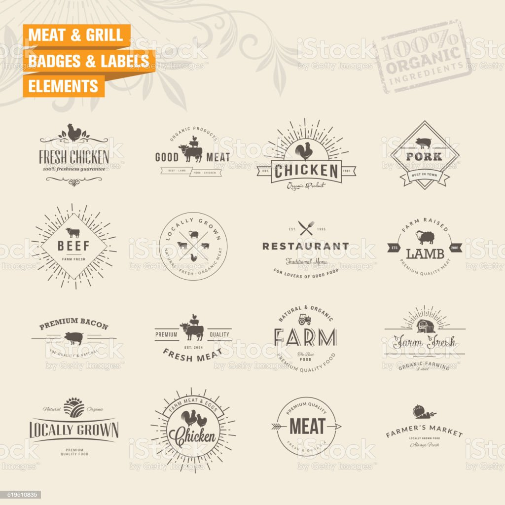 Set of badges and labels elements for meat and grill vector art illustration