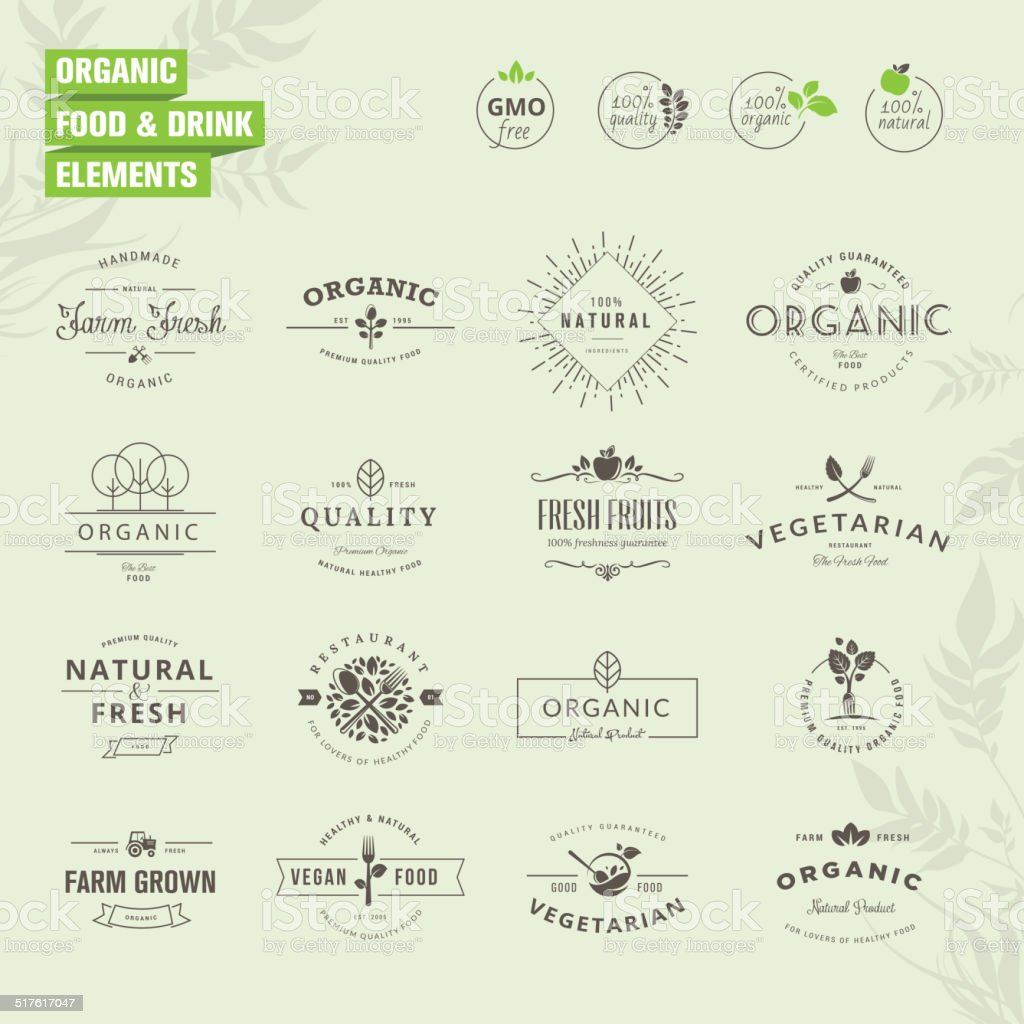 Set of badges and labels elements for organic food and drink vector art illustration