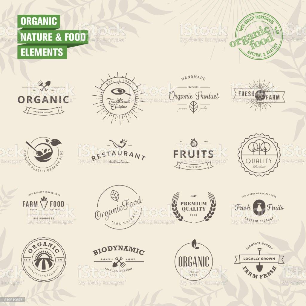 Juego de tarjetas, etiquetas y elementos para alimentos orgánicos y naturales illustracion libre de derechos libre de derechos