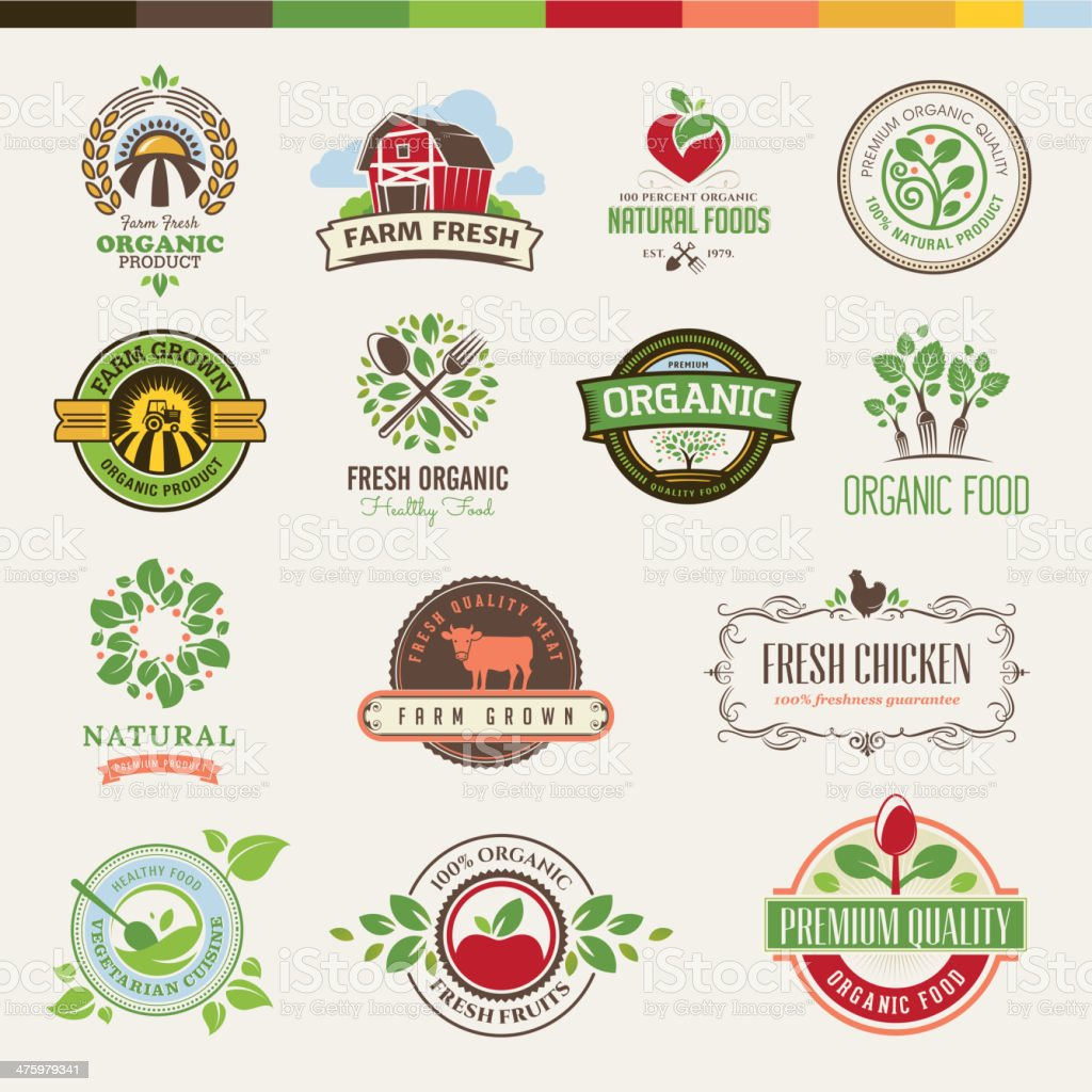 Set of badges and stickers for organic products vector art illustration