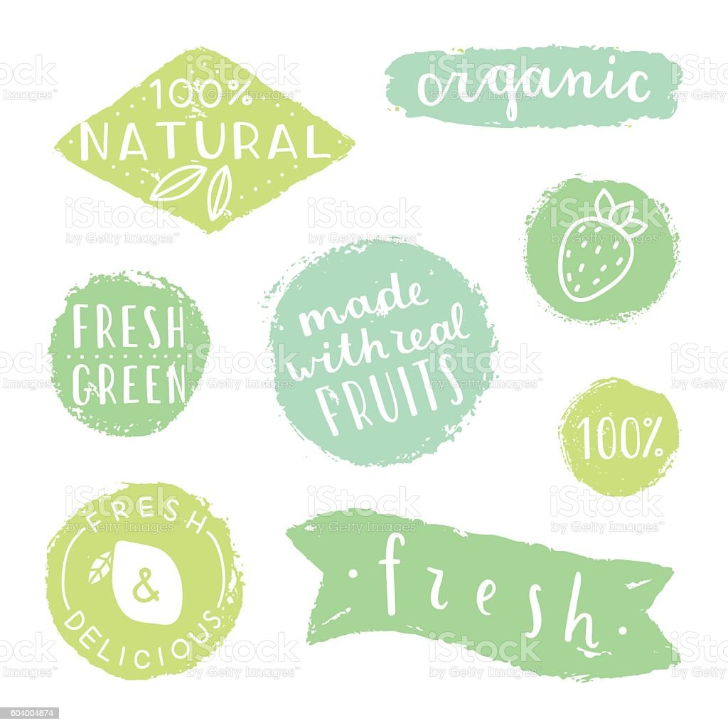 Set of badges for packaging design. Natural, fresh, green, organic. vector art illustration