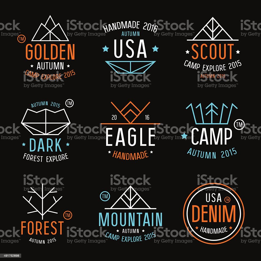 Set of badges in thin line style vector art illustration