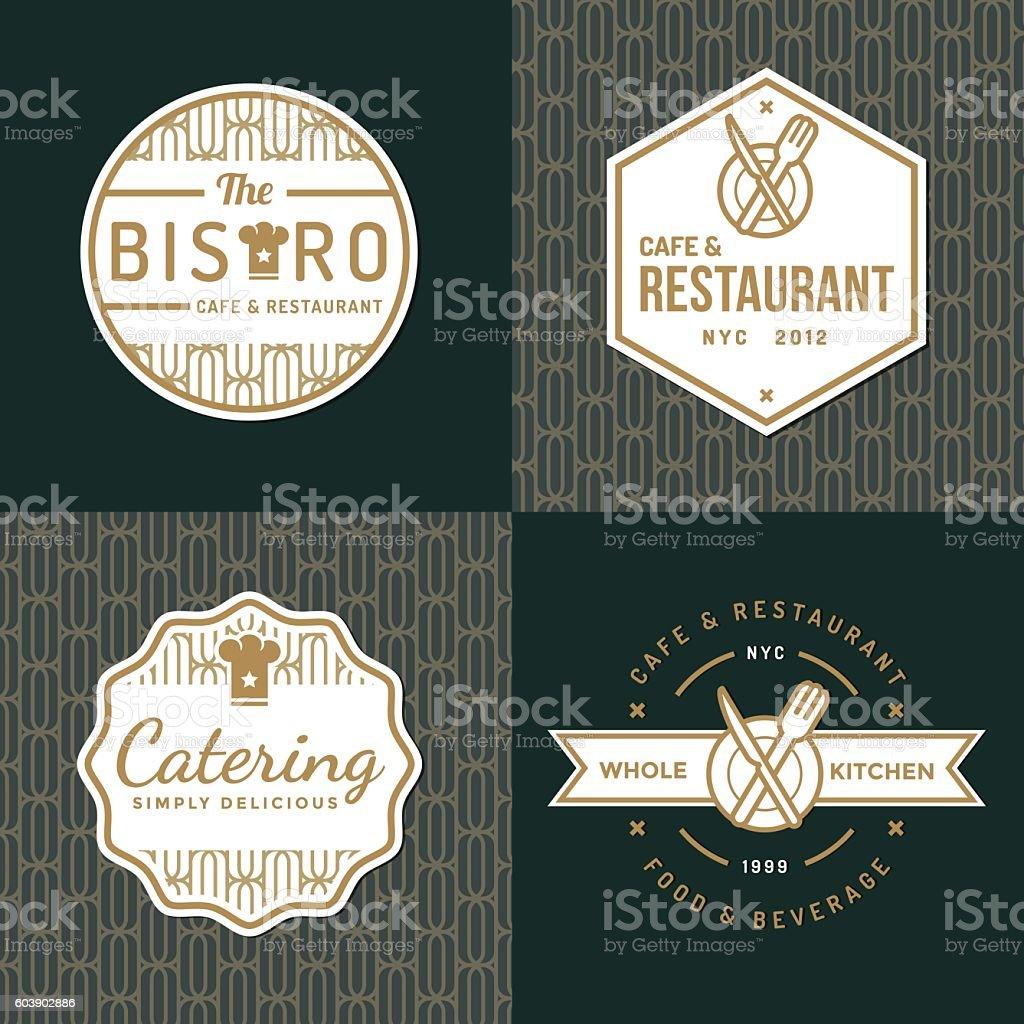 Set of badges, labels, logos for food restaurant, food catering. vector art illustration
