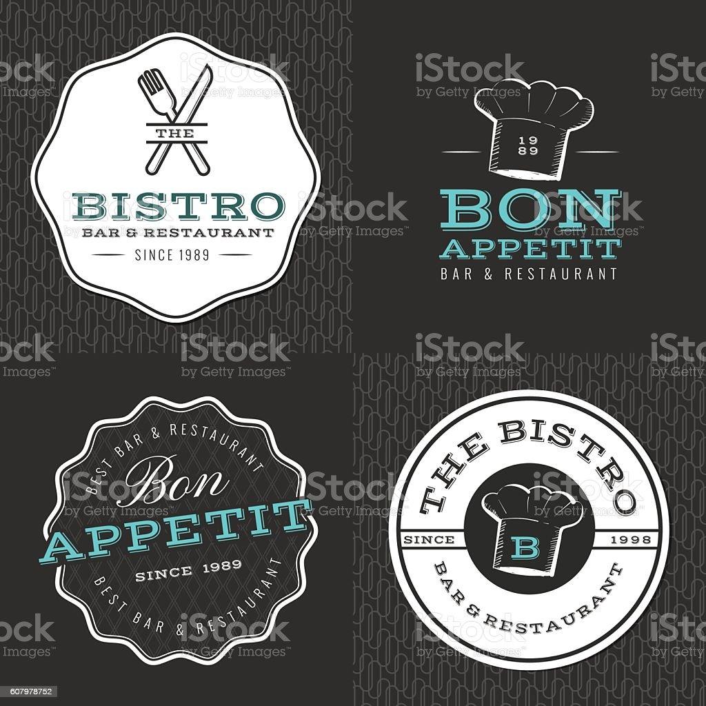 Set of badges, logos for food restaurant, foods shop, catering. vector art illustration