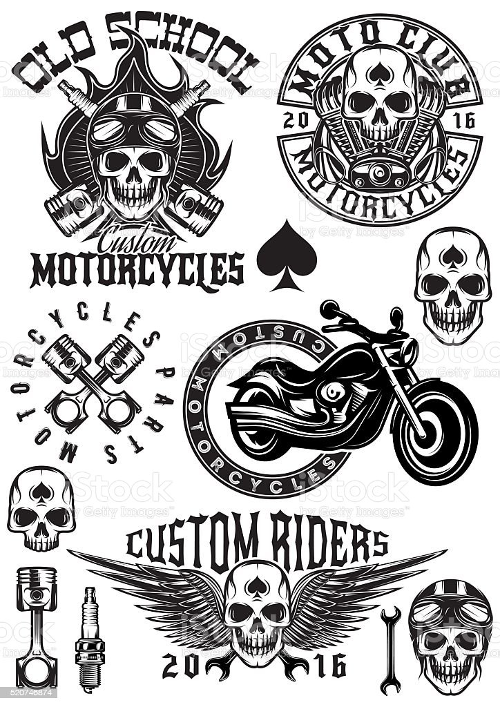 set of badges, logos on theme motorcycles with skulls vector art illustration