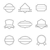 Set of Badges. Outlined, Black and White - Vol. 2.