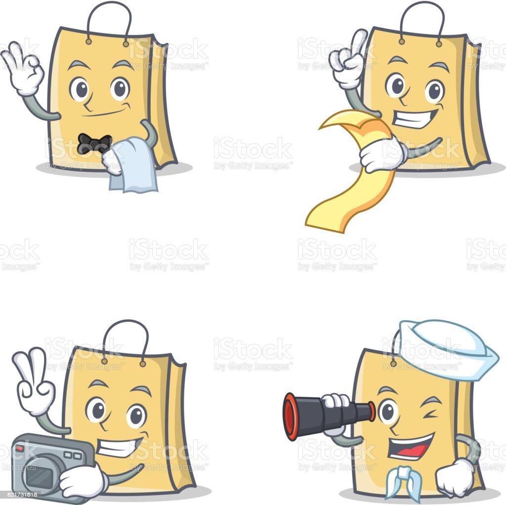 Set Of Bag Character With Waiter Menu Photo Binocular Vector ...