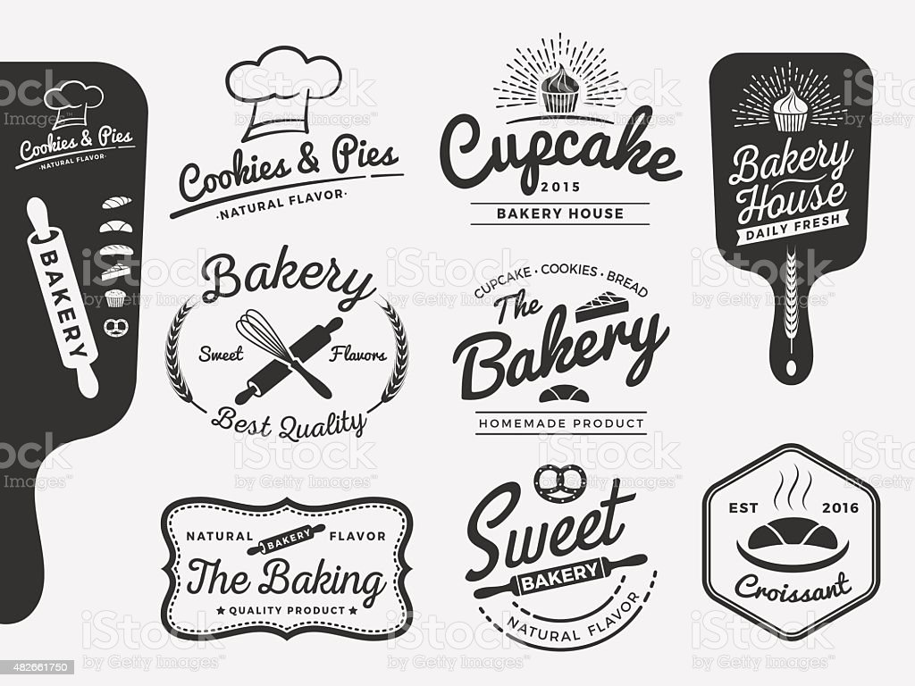 Set of bakery and bread logo labels design vector art illustration