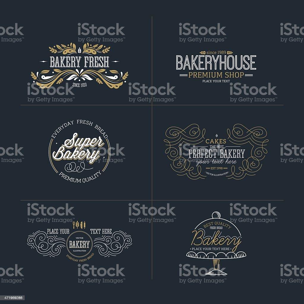 Set of bakery and bread logotypes. Vector illustration vector art illustration