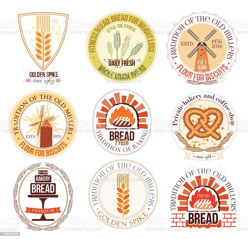 Set of bakery and wheat logo, labels and design elements. vector art illustration