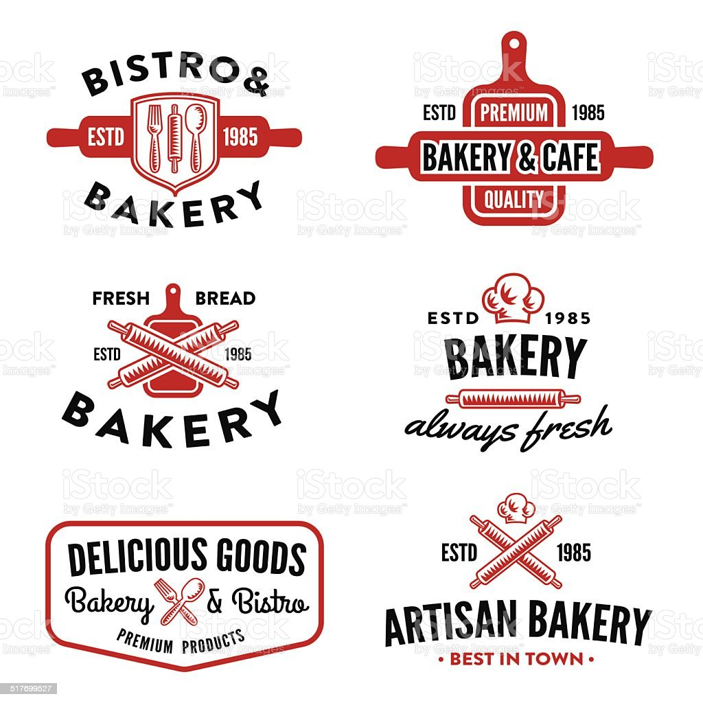 Set of bakery badges vector art illustration