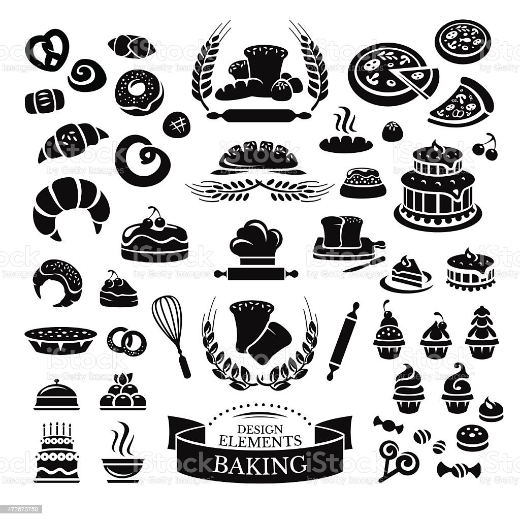 Set of bakery design elements and icons vector art illustration