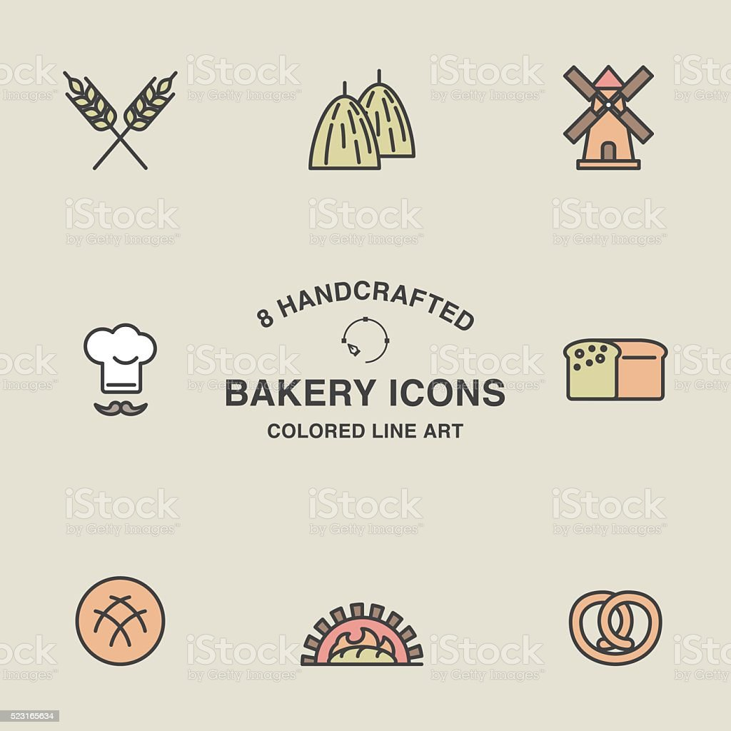 Set of bakery icons in pastel colors. vector art illustration