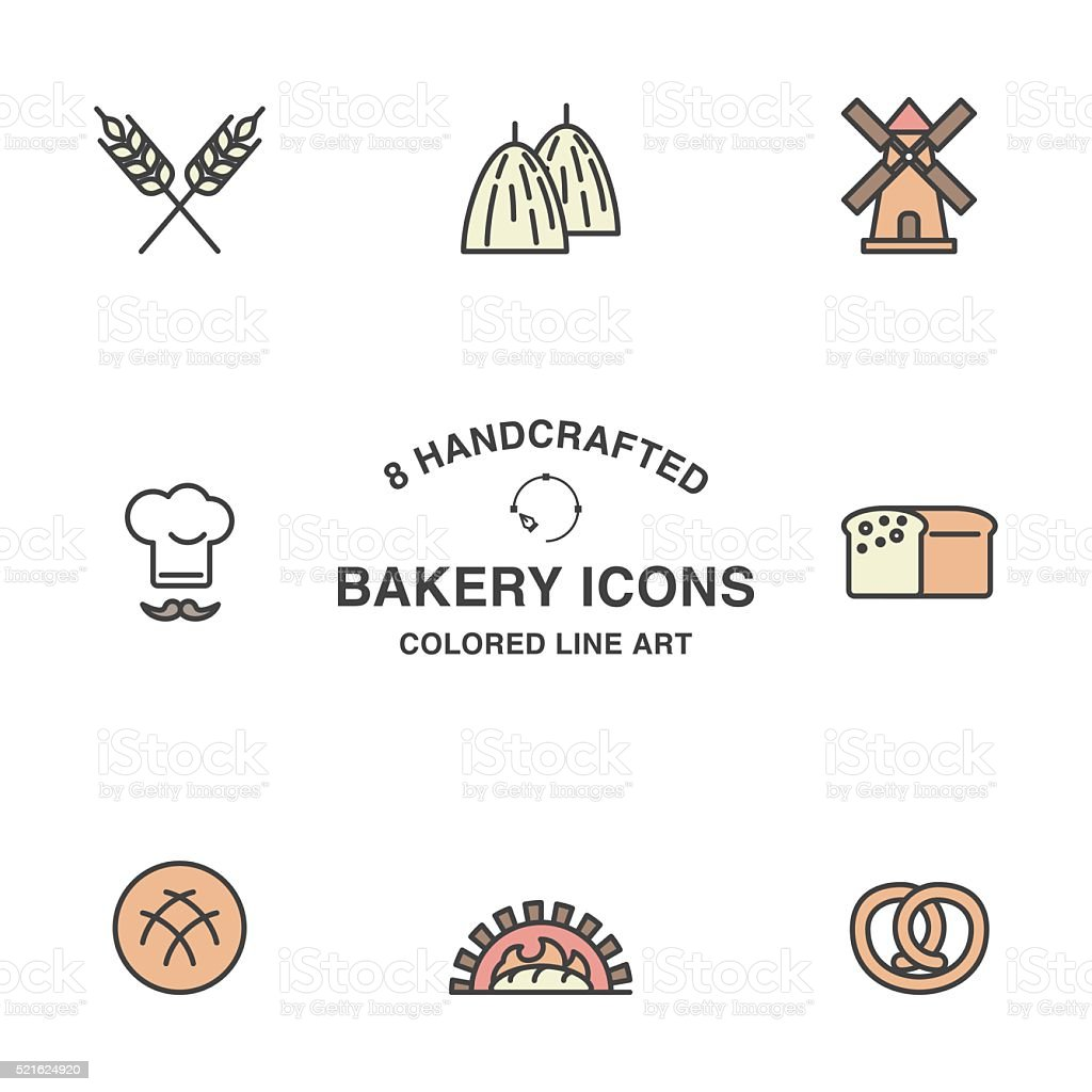 Set of bakery icons. vector art illustration