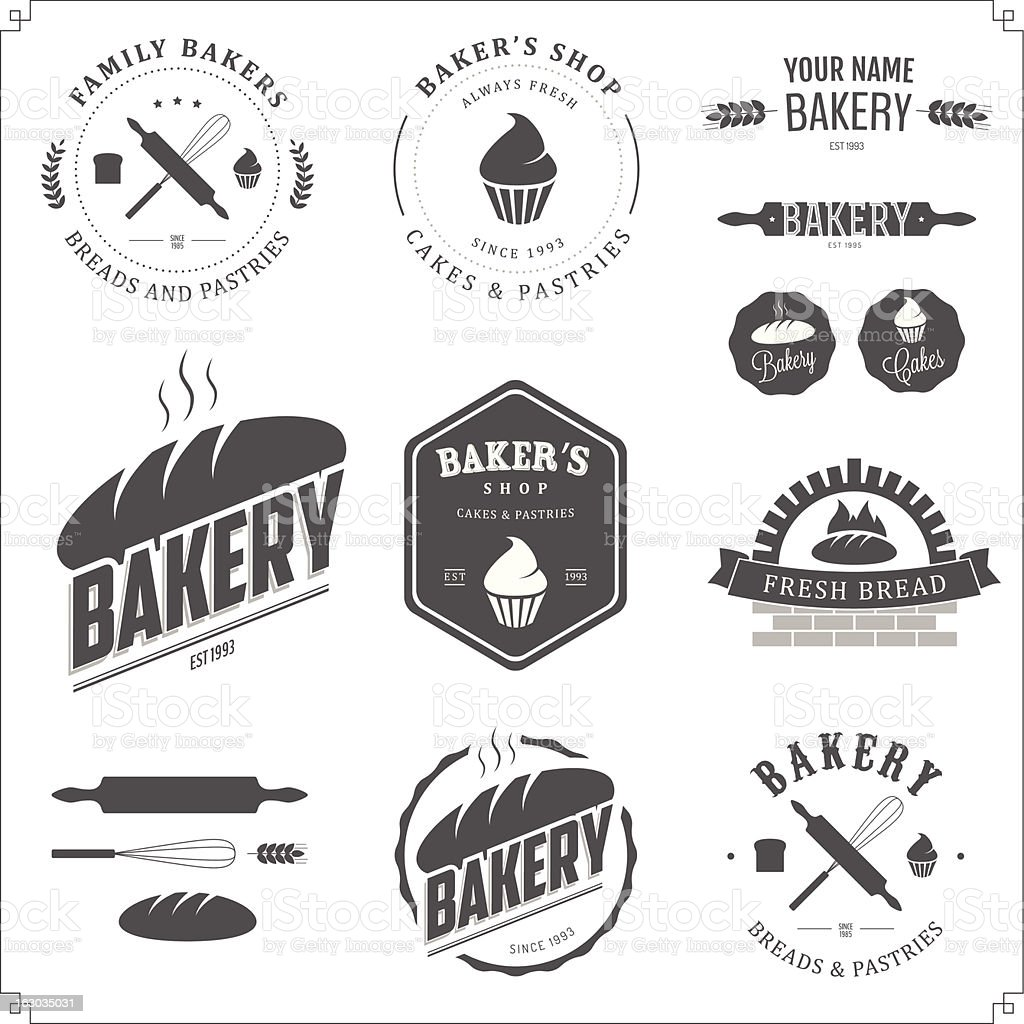 Set of bakery labels and design elements vector art illustration