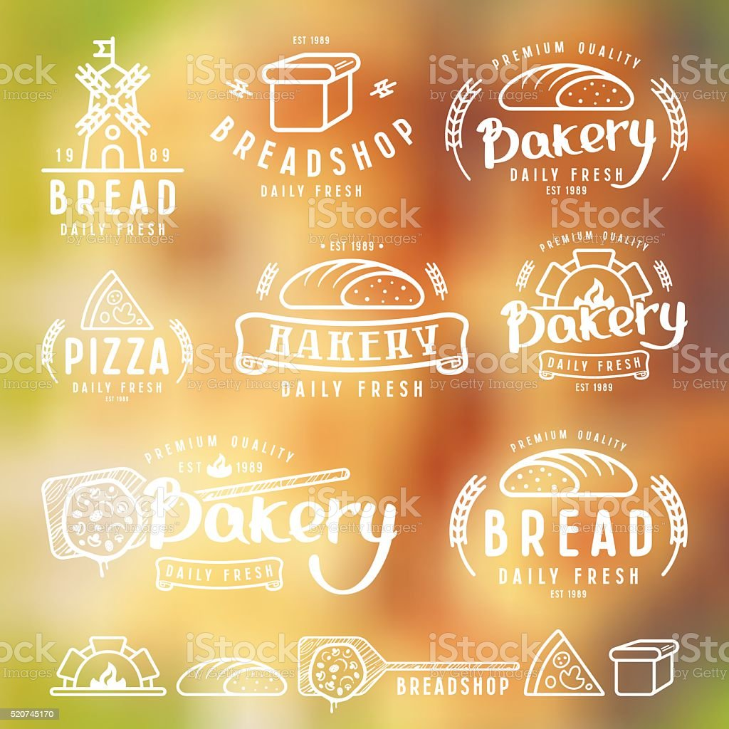Set of bakery labels, badges, and design elements vector art illustration