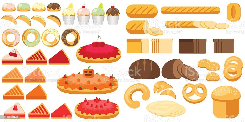 Set of bakery products. Illustration in a flat style bakery vector art illustration
