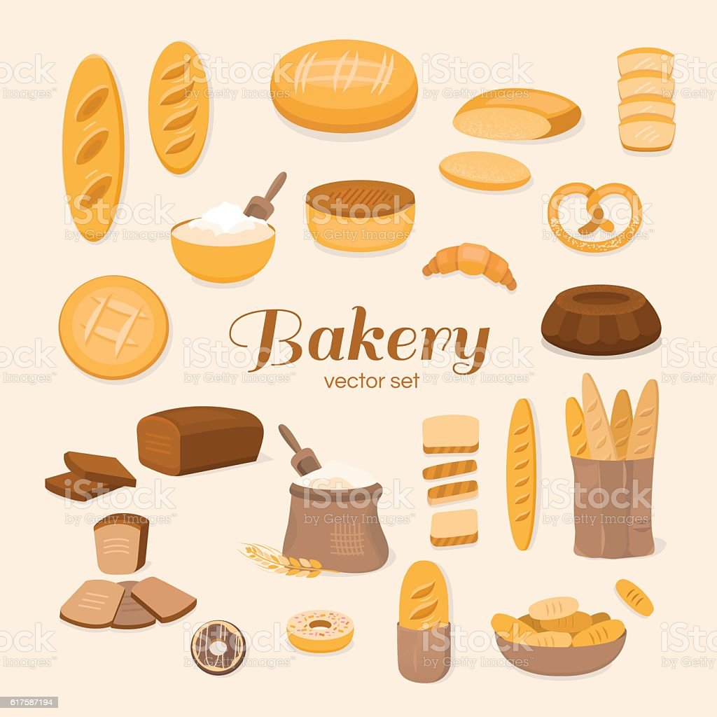 Set of bakery vector art illustration