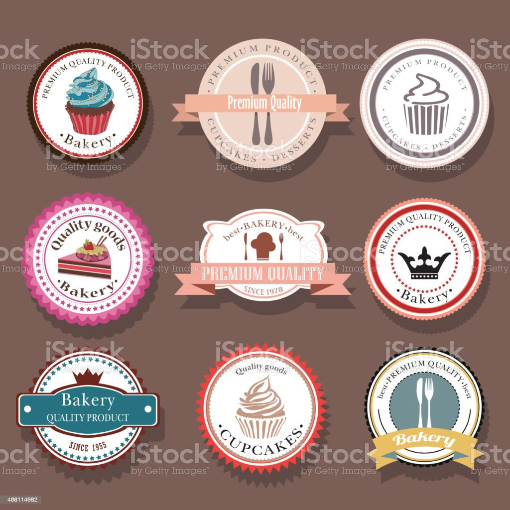Set of bakery vector logo labels and badges vector art illustration