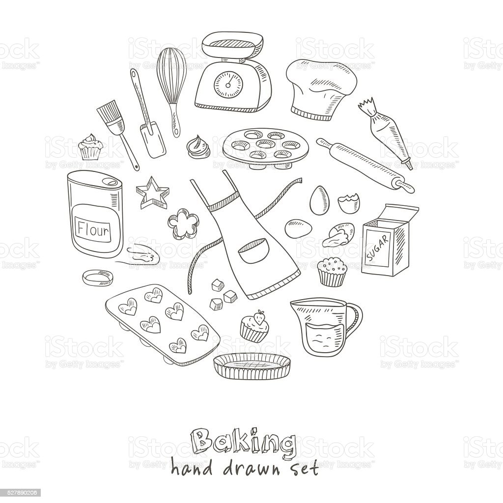 Set of Baking tools. Hand drawn collection vector art illustration