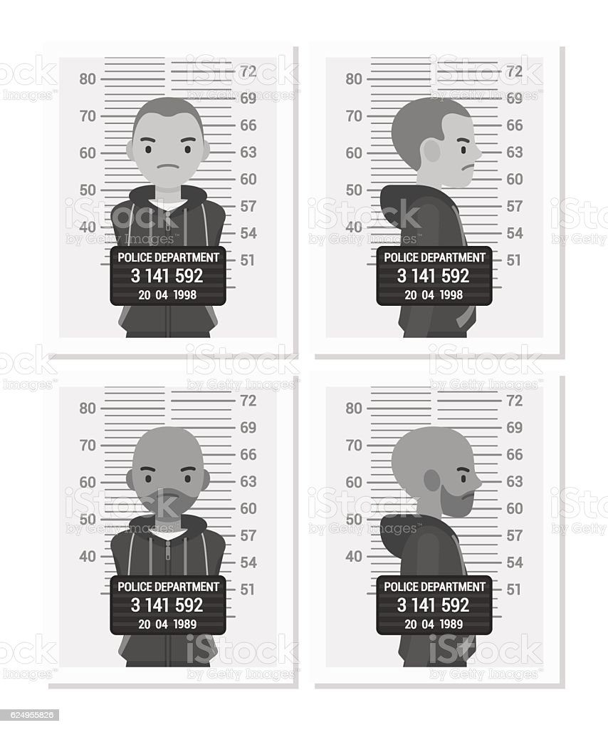 Set of balck and white male mugshots vector art illustration