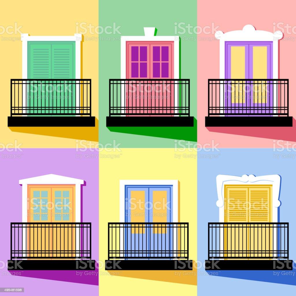 Set of Balconies Flat Vintage Style Vector Illustration vector art illustration