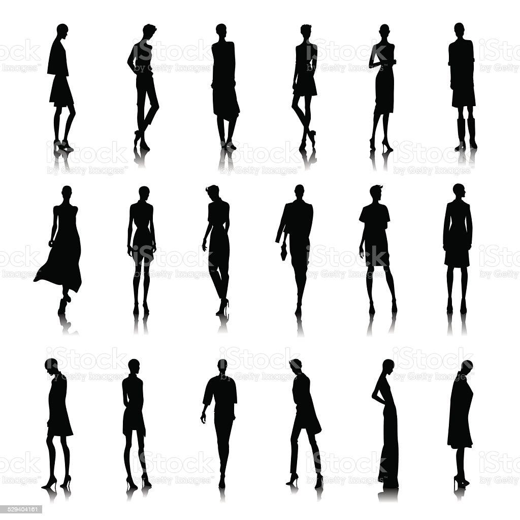 Set of bald women vector art illustration