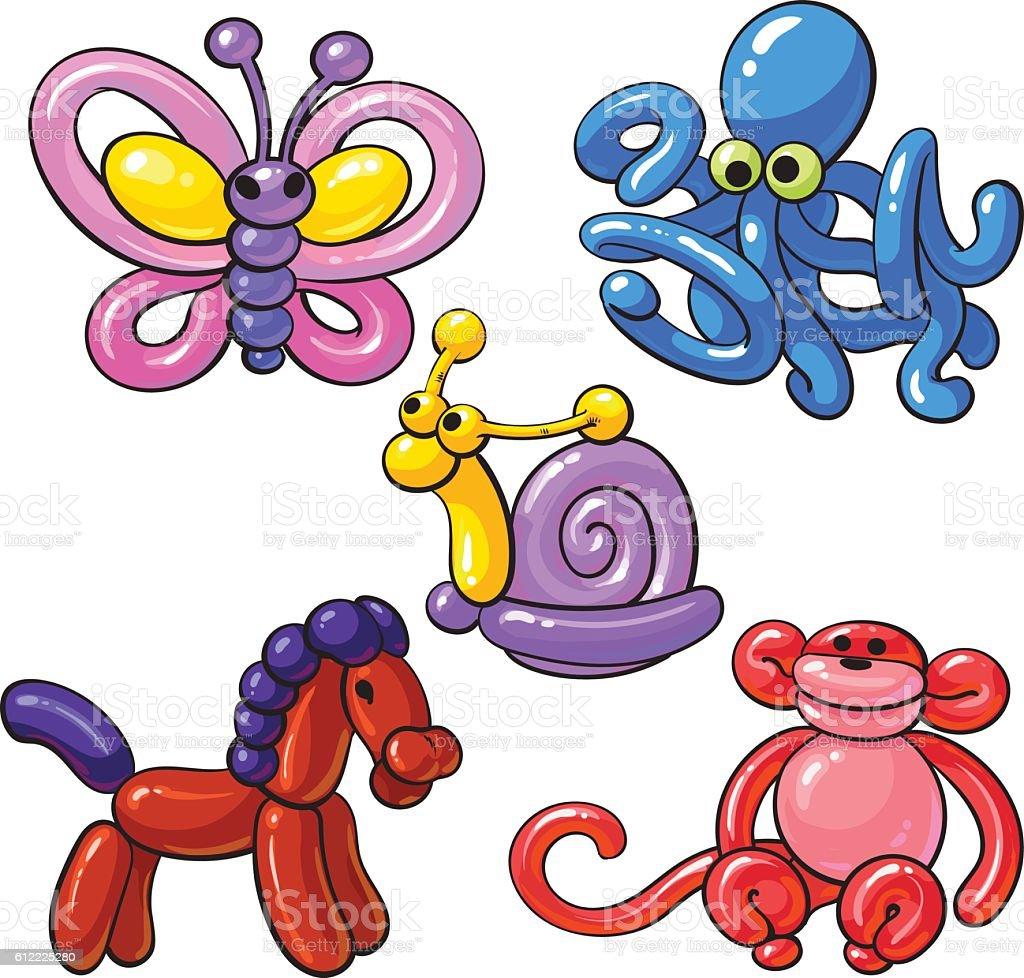 Set of balloon animals - horse, octopus, monkey, butterfly, snail vector art illustration