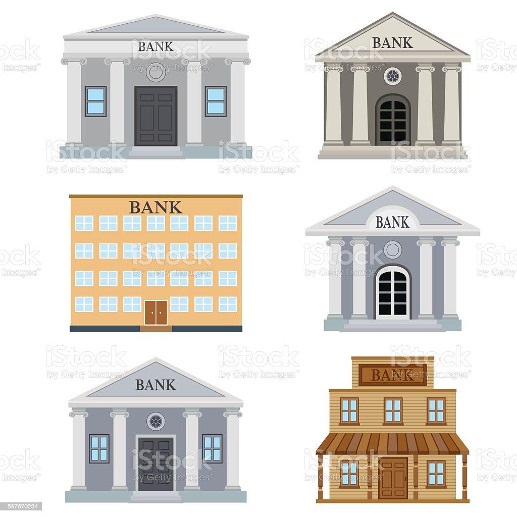 Set of bank buildings. vector art illustration