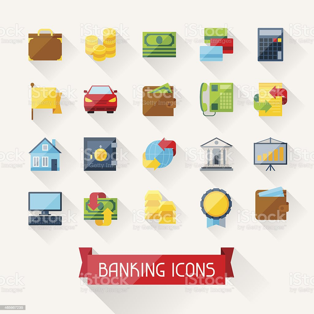 Set of banking icons in flat design style. vector art illustration