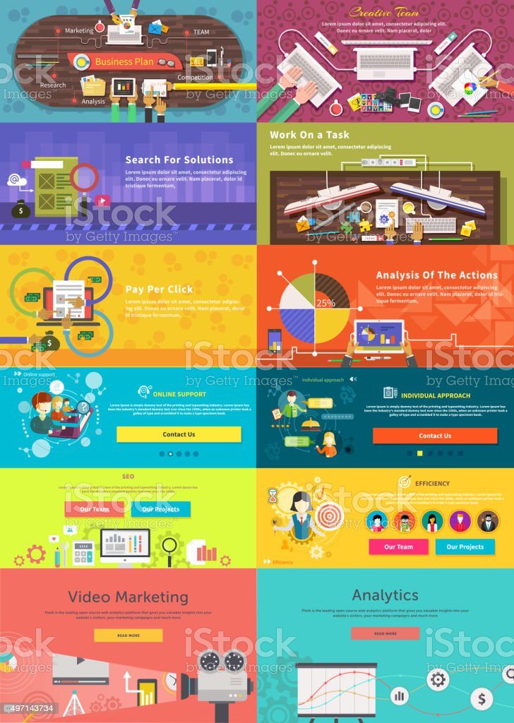 Set of Banner Concept Pay Per Click, Business Plan vector art illustration