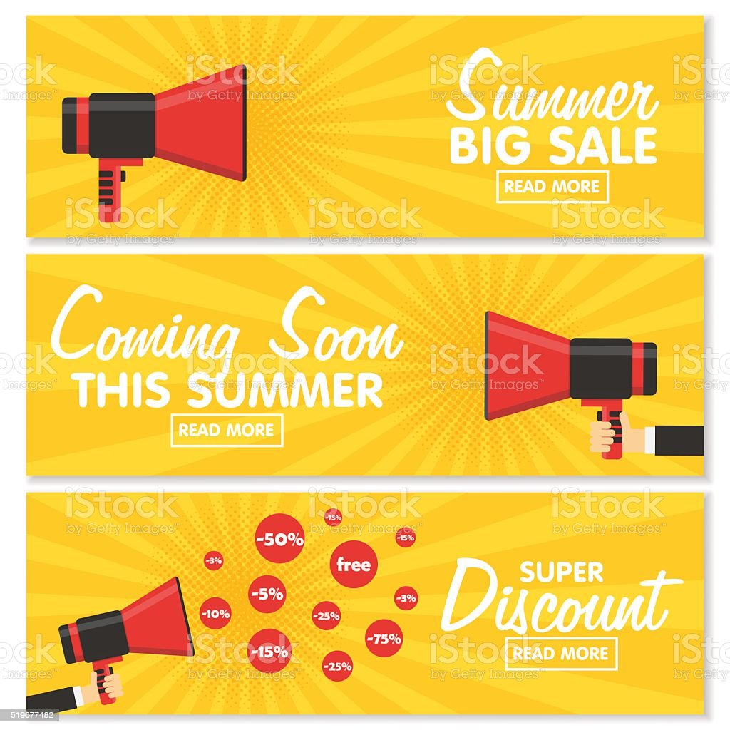 Set of banners. Announcement megaphone on vintage pop art background. vector art illustration