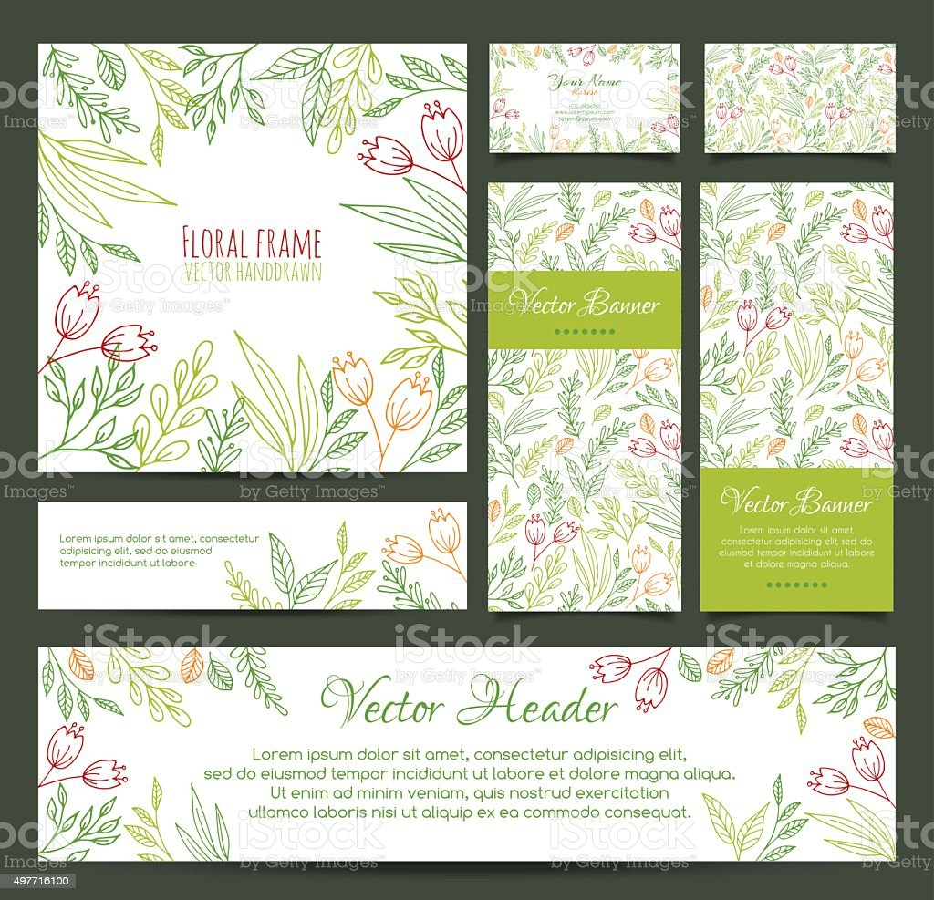 Set of banners, business card, frame, invitations and headers in vector art illustration