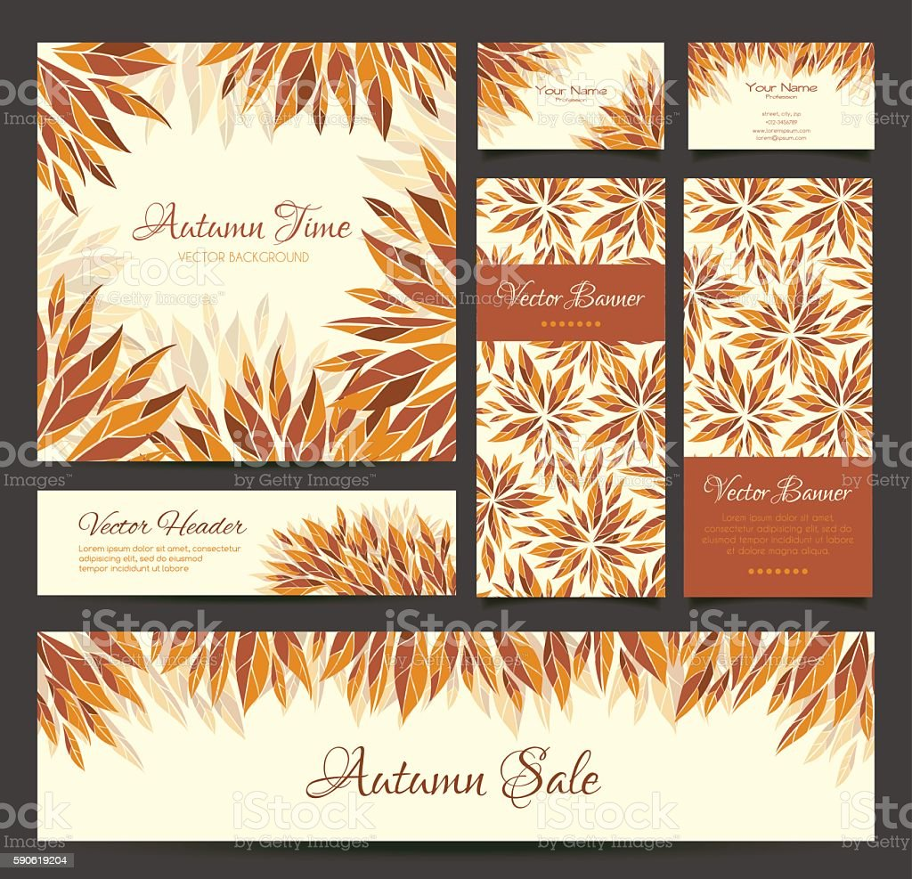 Set of banners, business card, headers with autumn leaves vector art illustration
