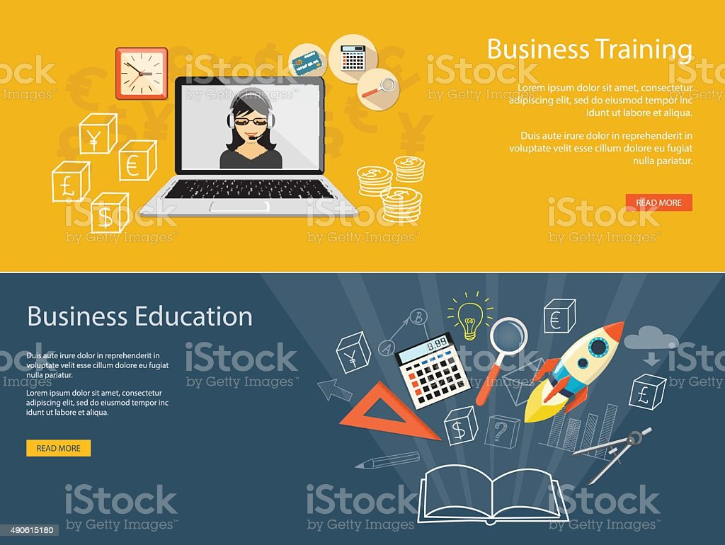 set of banners for business training site vector art illustration