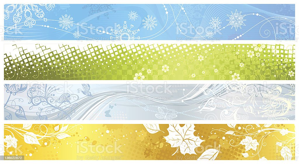 Set of banners for four seasons royalty-free stock vector art