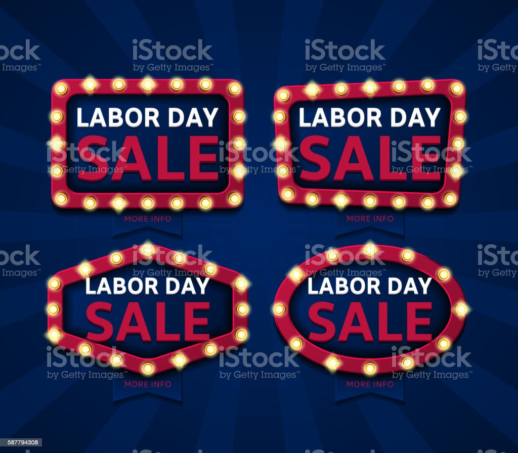Set of banners for labor day sale royalty-free stock vector art