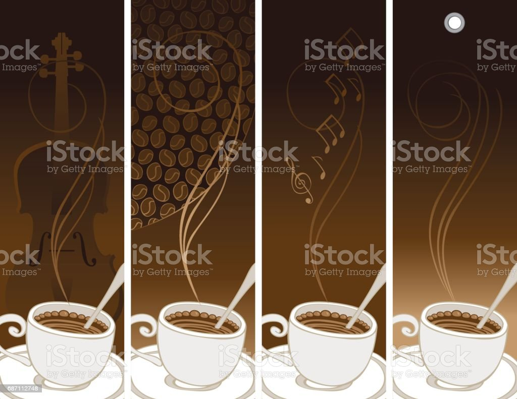 set of banners on the theme of coffee and music vector art illustration