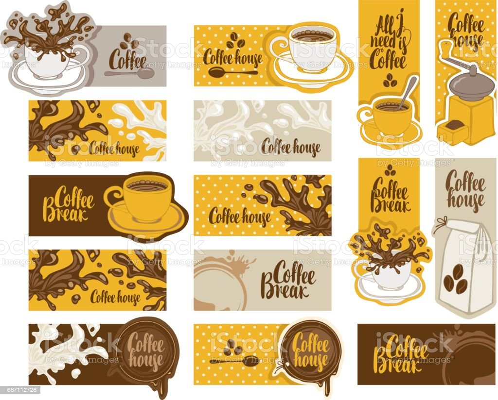 set of banners on the theme of coffee vector art illustration