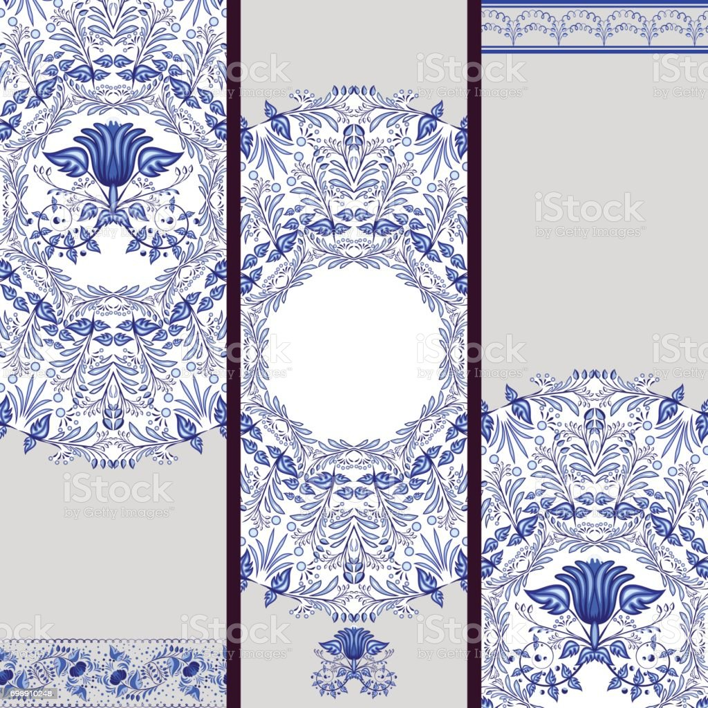 Set of banners or backgrounds based on ethnic painting on porcelain. Blue floral pattern. vector art illustration