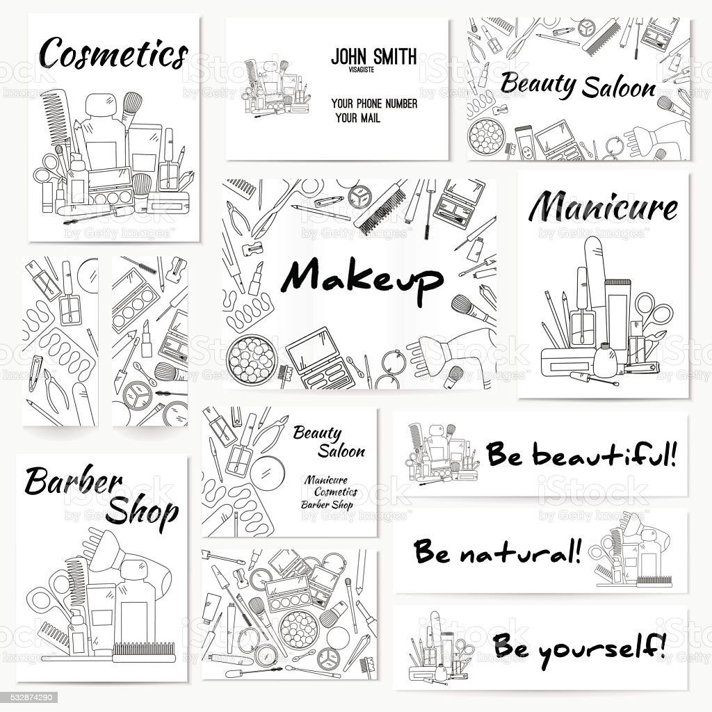 Set of banners, posters and business card with make up vector art illustration