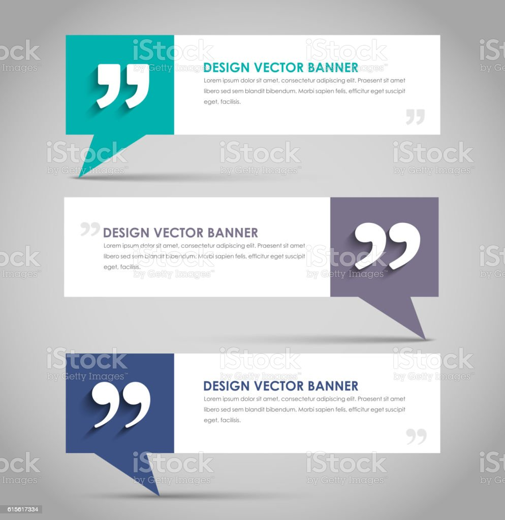 Set of banners with a quote bubble vector art illustration