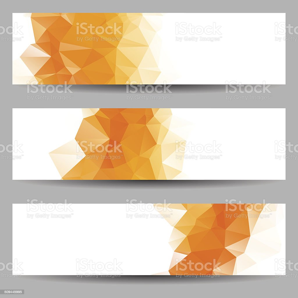 Set of banners with abstract triangles vector art illustration