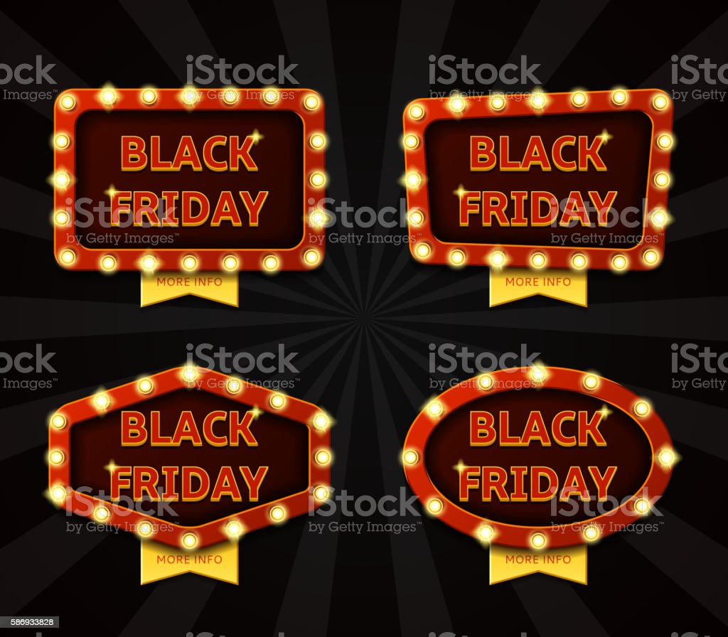 Set of banners with glowing lamps for Black friday royalty-free stock vector art