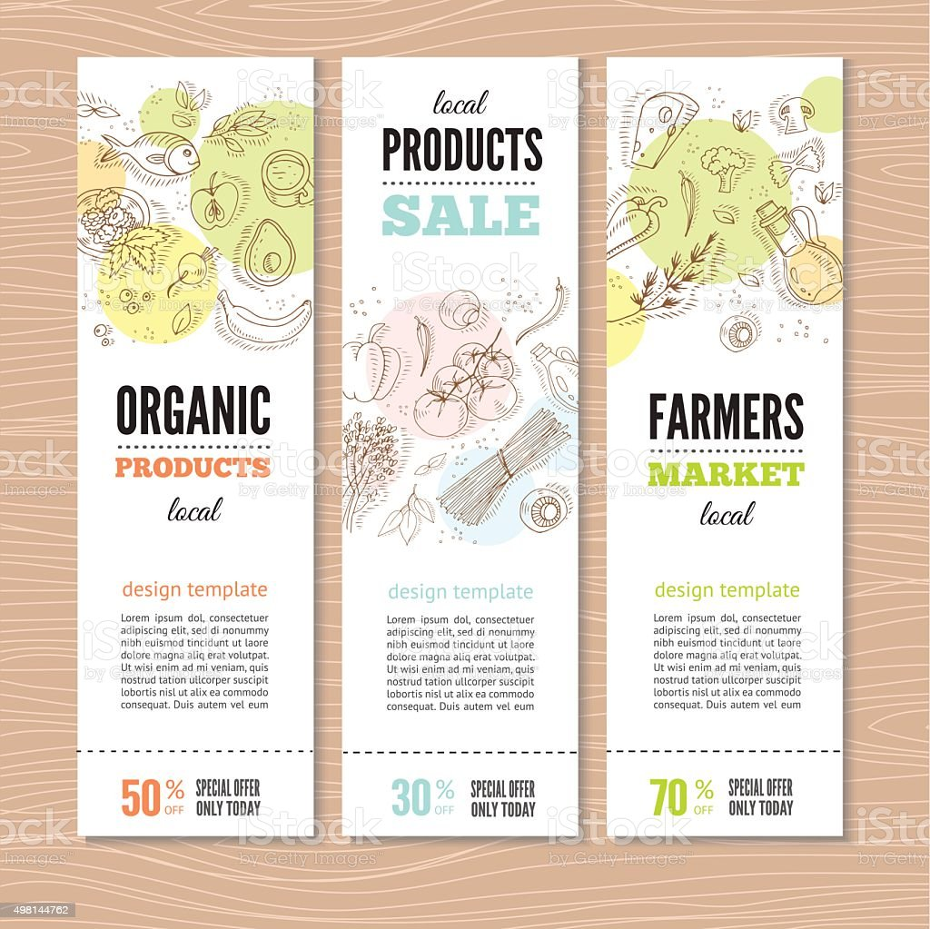Set of banners with organic vegetables. vector art illustration