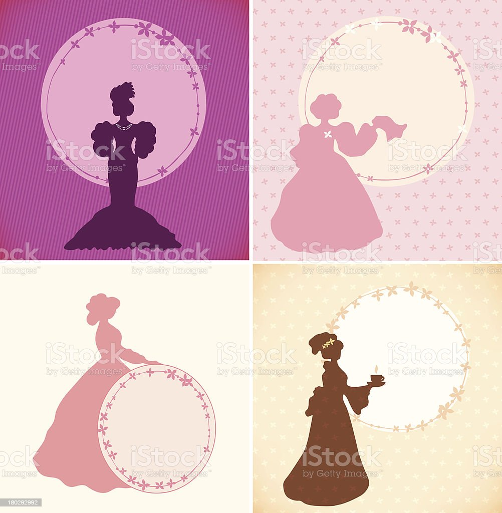 Set of banners with romantic women and round floral frames vector art illustration