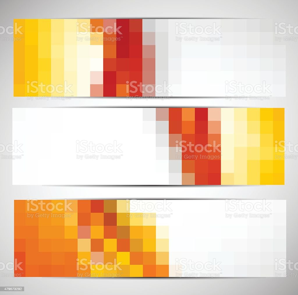 Set of banners with squares vector art illustration