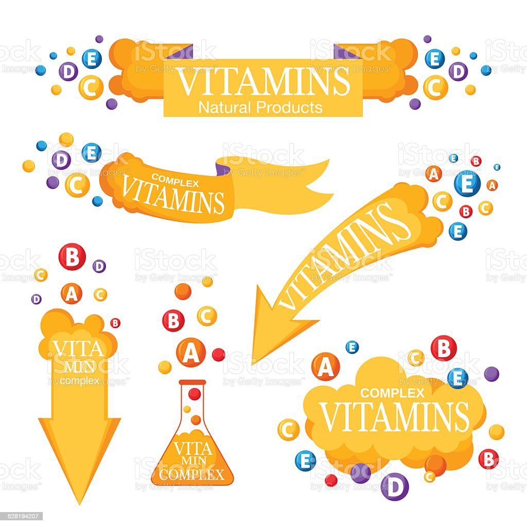 Set of banners with vitamins vector art illustration